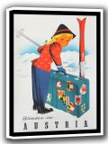 Winter in Austria. Vintage Skiing/Travel Canvas. Sizes: A4/A3/A2/A1 (002688)